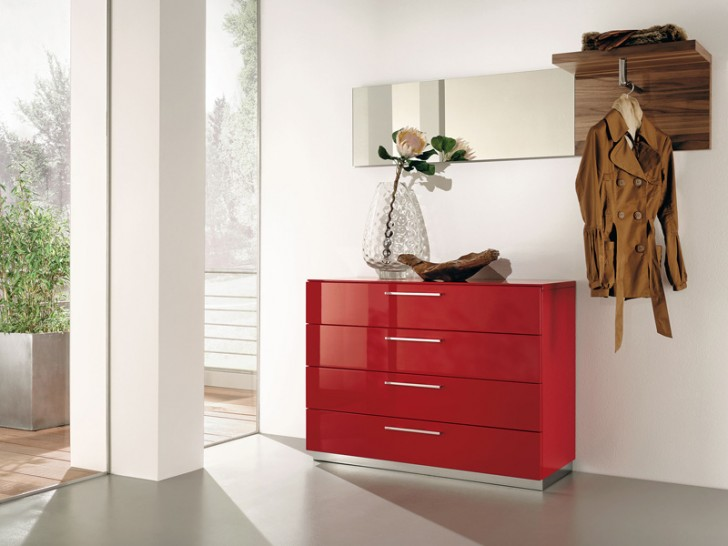 Furniture , 11 Awesome Modern Hallway Furniture : Modern Ruby Red Hallway Furniture