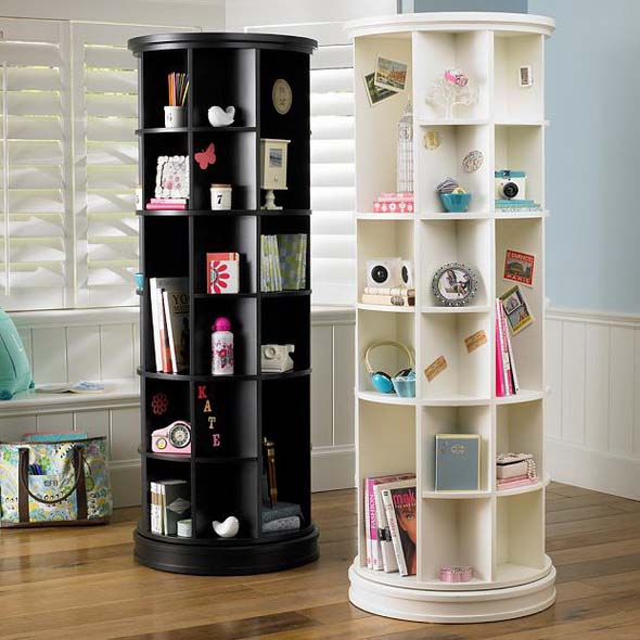 Furniture , 10 Cool Bookcase Designs : Revolving Bookcase Design From Pbteen