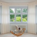 bay window with voile curtains , 11 Unique Bay Window Dressing In Interior Design Category