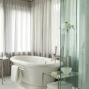 Pure white drapery bathroom curtains , 9 Ultimate Bathroom Curtain Ideas In Bathroom Category