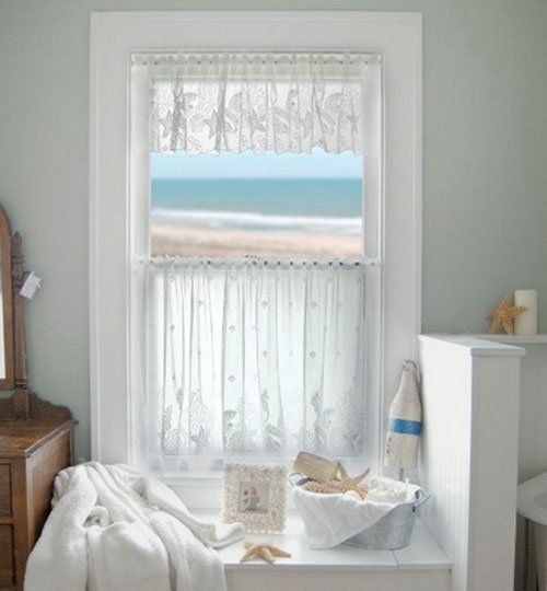 Interior Design , 6 Lovely Small Bathroom Window Curtains : Stylish Home Curtain Design