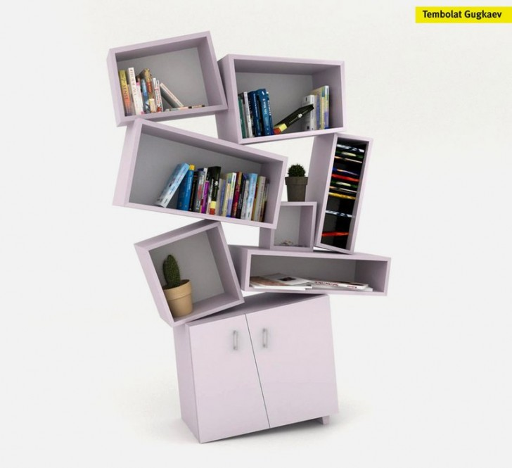 Furniture , 10 Best Unusual bookcases : Unusual Bookcase In Chaotical Design