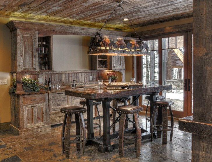 Home Bar , Gorgeous  Rustic Bar Table And Stool Image : Awesome  Rustic Bar Table and Stool Image Ideas