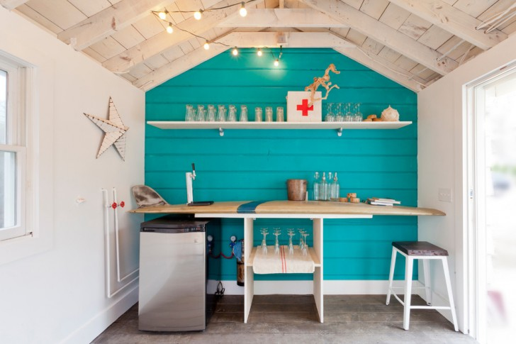 Garage And Shed , Gorgeous  Beach Style Retro Bar Cart Image Ideas : Beautiful  Beach Style Retro Bar Cart Picture