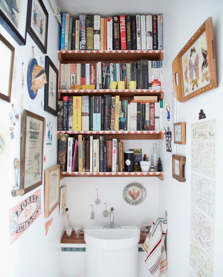 Powder Room , Lovely  Eclectic Shelves For Small Bathrooms Inspiration : Beautiful  Eclectic Shelves for Small Bathrooms Photo Inspirations