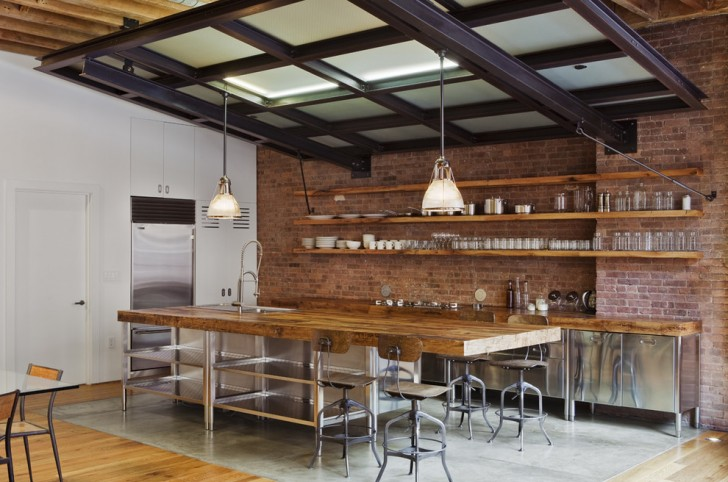 Kitchen , Cool  Industrial Wood Kitchen Shelves Image Ideas : Beautiful  Industrial Wood Kitchen Shelves Image