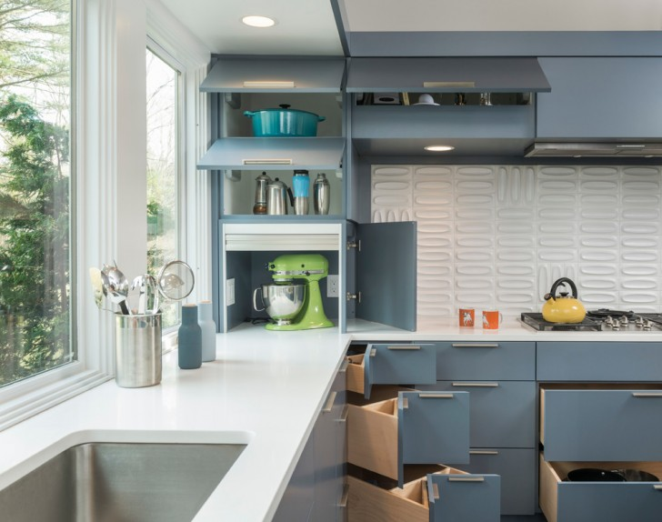 Kitchen , Awesome  Midcentury Kitchen Countertop Storage Solutions Photo Ideas : Beautiful  Midcentury Kitchen Countertop Storage Solutions Photos