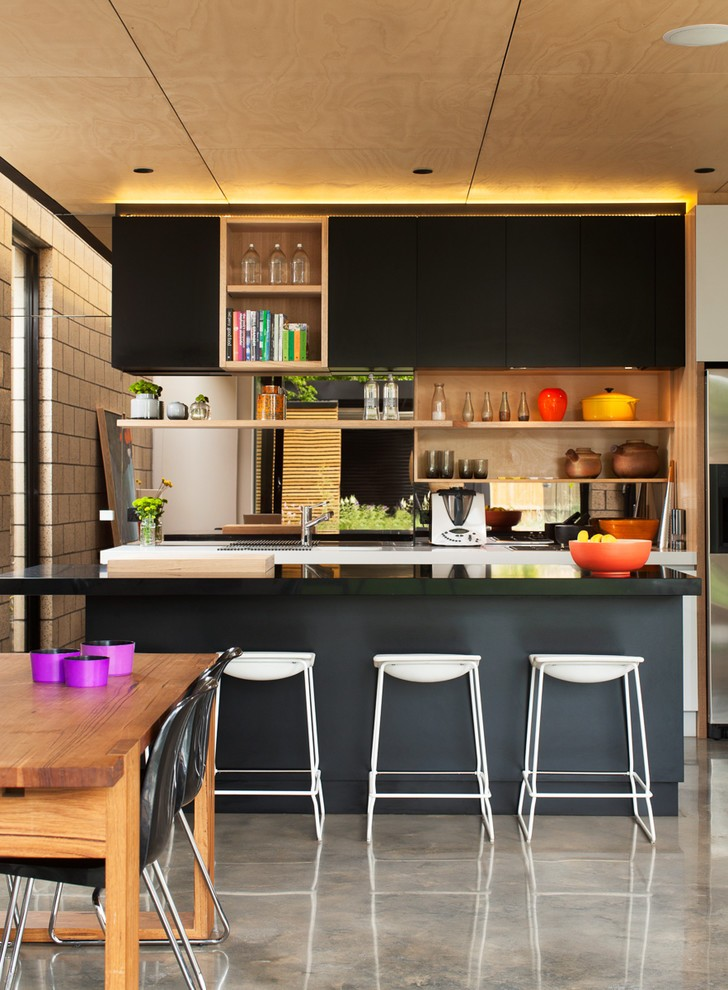 Kitchen , Lovely  Contemporary Black Kitchens Cabinets Inspiration : Breathtaking  Contemporary Black Kitchens Cabinets Photo Ideas