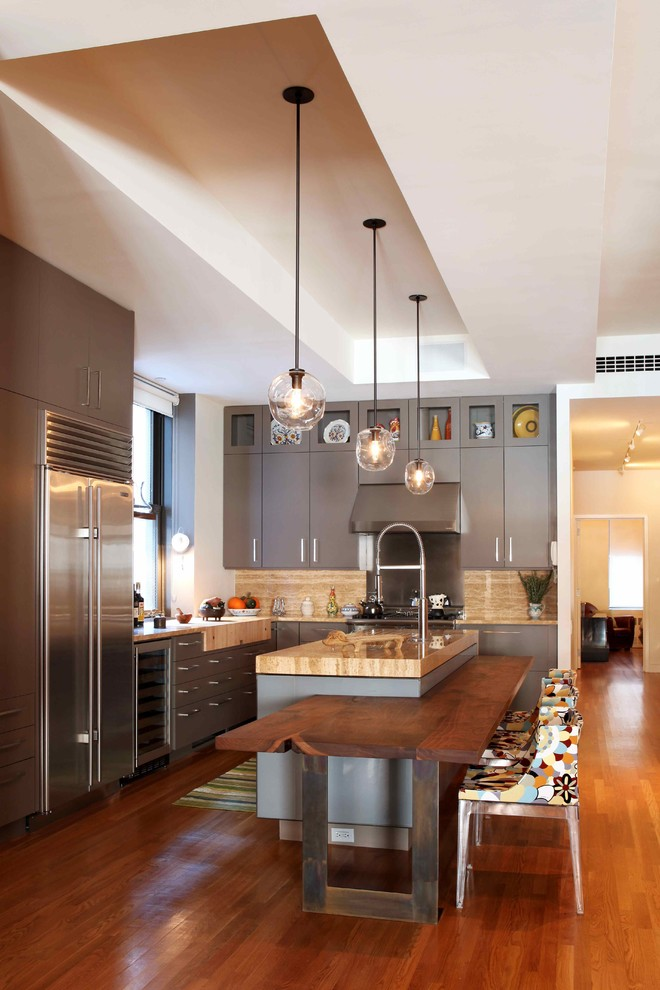 Kitchen , Charming  Eclectic Kitchen Counter Storage Solutions Picture : Charming  Contemporary Kitchen Counter Storage Solutions Image Inspiration