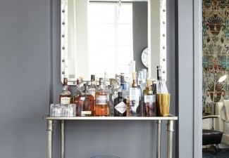 660x990px Wonderful  Industrial Polished Nickel Bar Cart Image Picture in Wine Cellar