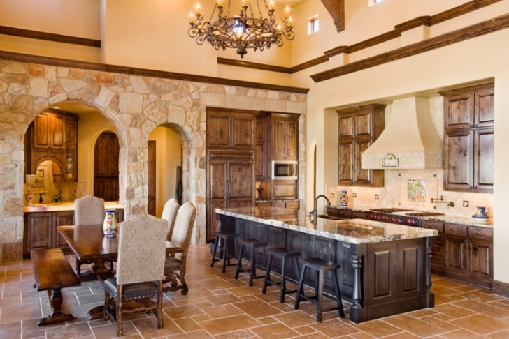 Kitchen , Lovely  Contemporary Large Kitchen Island Table Picture : Charming  Mediterranean Large Kitchen Island Table Picture