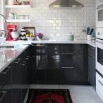 Charming  Midcentury Black Kitchen Storage Cabinet Image , Beautiful  Eclectic Black Kitchen Storage Cabinet Ideas In Kitchen Category