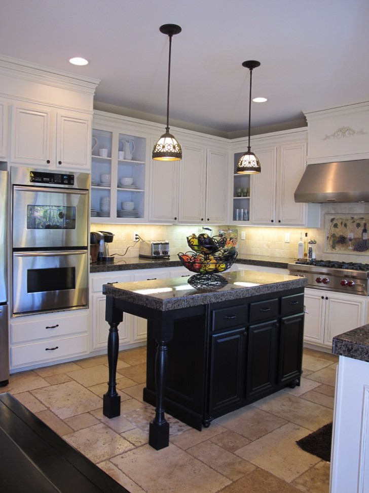 Kitchen , Lovely  Traditional White Kitchen Black Island Picture : Charming  Traditional White Kitchen Black Island Photos
