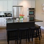 Cool  Contemporary White Kitchen with Black Island Inspiration , Beautiful  Contemporary White Kitchen With Black Island Picture Ideas In Kitchen Category
