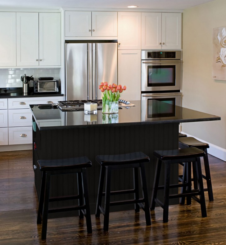 Kitchen , Beautiful  Contemporary White Kitchen With Black Island Picture Ideas : Cool  Contemporary White Kitchen with Black Island Inspiration
