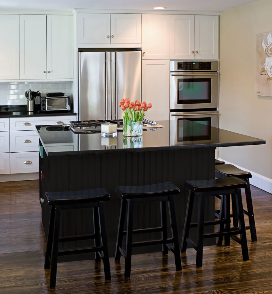 916x990px Beautiful  Contemporary White Kitchen With Black Island Picture Ideas Picture in Kitchen