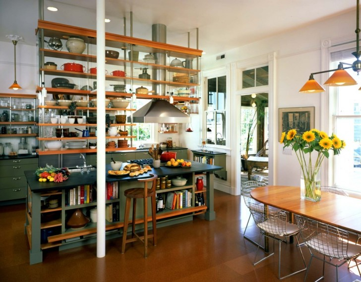 Kitchen , Beautiful  Industrial Large Portable Kitchen Island Image Ideas : Cool  Industrial Large Portable Kitchen Island Photos