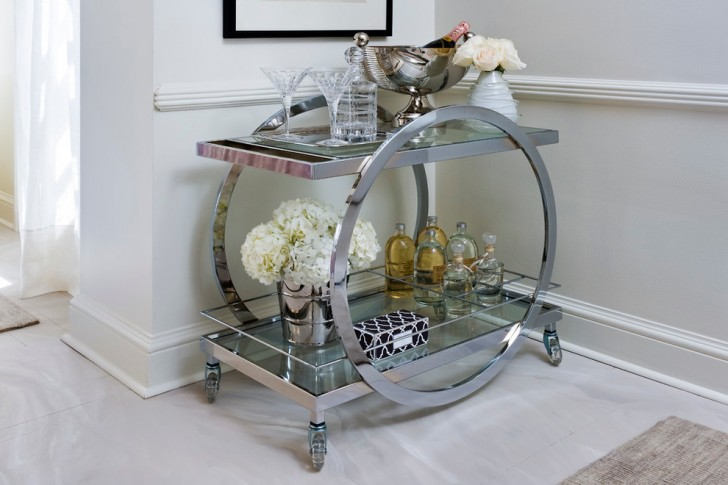Spaces , Charming  Contemporary Vintage Bar Carts Inspiration : Fabulous  Contemporary Vintage Bar Carts Photo Inspirations