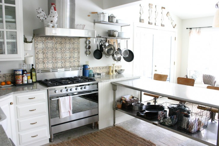 Kitchen , Stunning  Eclectic Stainless Steel Kitchen Island Table Image Inspiration : Fabulous  Eclectic Stainless Steel Kitchen Island Table Image Ideas