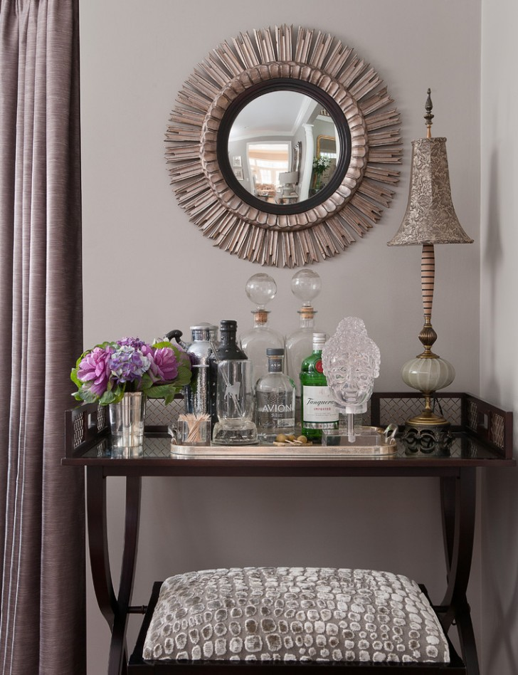 Living Room , Lovely  Traditional Mirrored Bar Cart Image Ideas : Fabulous  Traditional Mirrored Bar Cart Inspiration