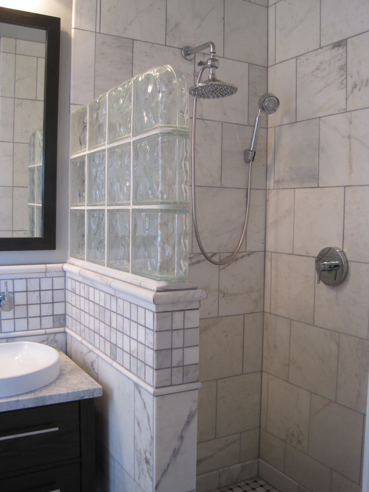 Fabulous traditional open showers for small bathrooms for Small bathroom designs no toilet