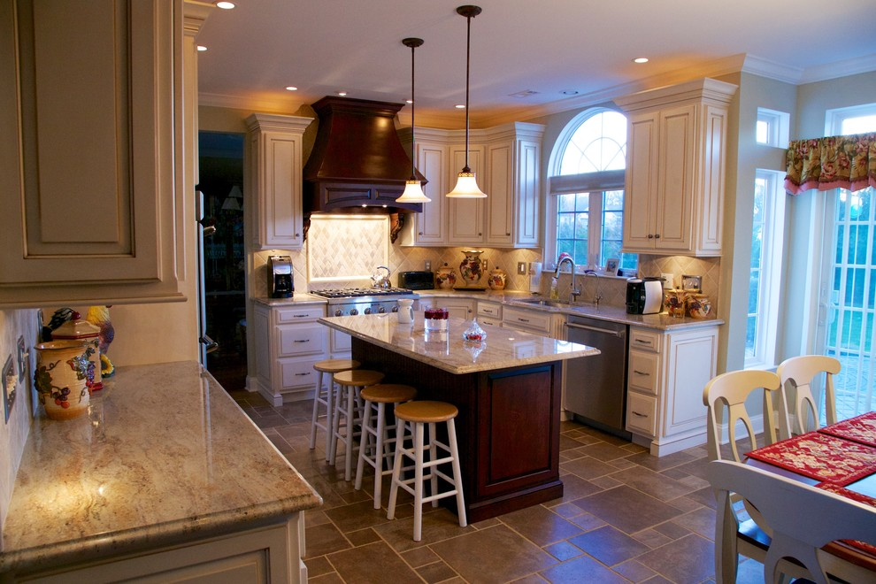 990x660px Cool  Traditional Kashmir Gold Granite Countertops Photo Ideas Picture in Kitchen