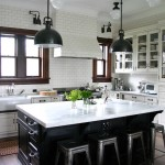 Gorgeous  Traditional White Kitchen with Black Island Photos , Beautiful  Contemporary White Kitchen With Black Island Picture Ideas In Kitchen Category