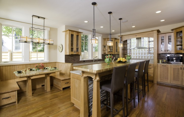 Kitchen , Fabulous  Craftsman Kitchen Dining Booth Image Inspiration : Lovely  Craftsman Kitchen Dining Booth Ideas