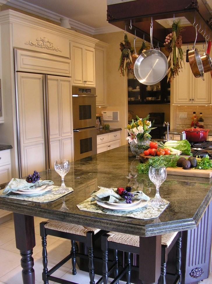 Kitchen , Breathtaking  Traditional Island Pot Rack Photos : Lovely  Traditional Island Pot Rack Photo Ideas