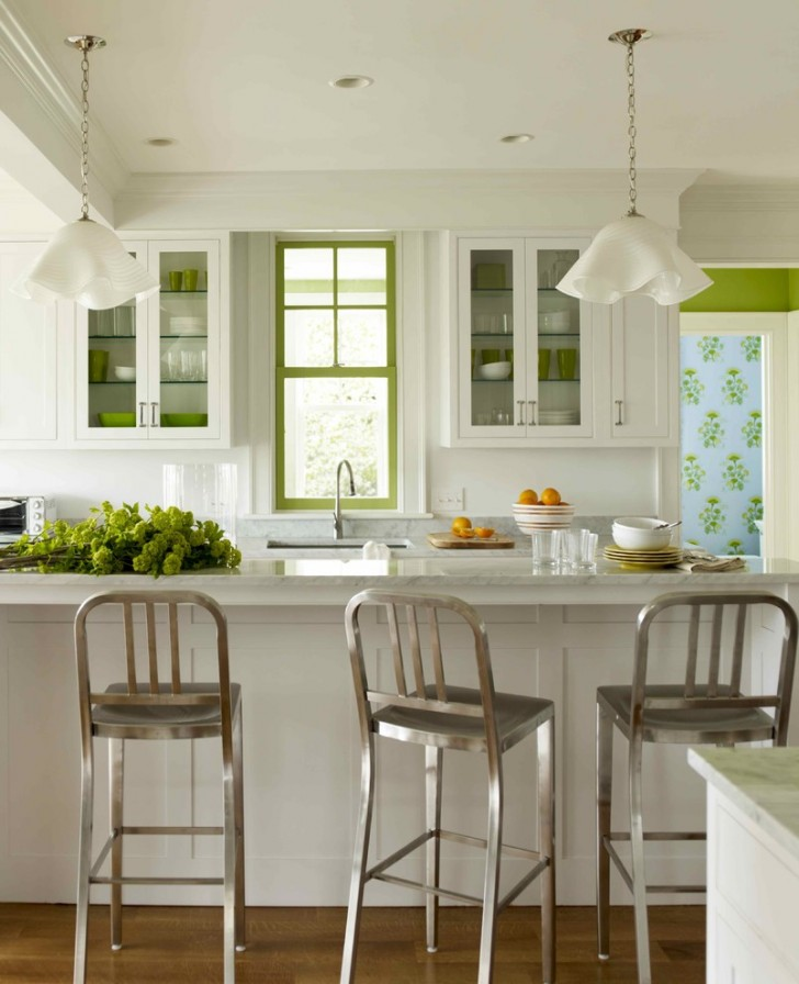 Kitchen , Gorgeous  Transitional White Cabinets For Kitchen Image : Lovely  Transitional White Cabinets for Kitchen Inspiration