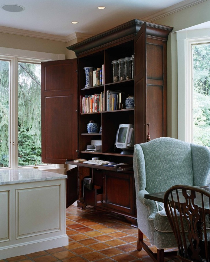 Home Office , Fabulous  Traditional Armoire Kitchen Inspiration : Stunning  Traditional Armoire Kitchen Photos