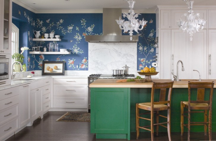 Kitchen , Stunning  Traditional White Kitchen Island With Natural Top Photo Inspirations : Stunning  Traditional White Kitchen Island with Natural Top Image Ideas