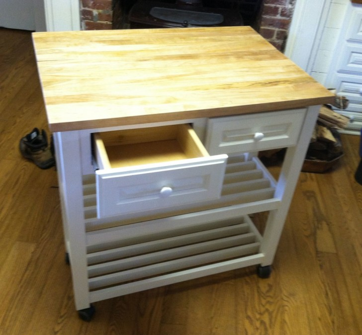 Kitchen , Beautiful  Farmhouse Rolling Butcher Block Cart Inspiration : Wonderful  Farmhouse Rolling Butcher Block Cart Photo Inspirations