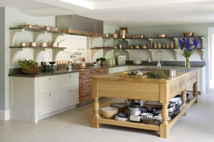 Kitchen , Cool  Contemporary Kitchen Island with Shelves Image Inspiration : Wonderful  Transitional Kitchen Island With Shelves Picture